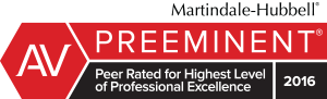 2016 Martindale-Hubbell® Peer Review Rating of AV Preeminent®