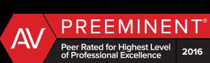 2016 Martindale-Hubbell® Peer Review Rating of AV Preeminent®
