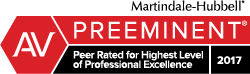 2017 Martindale-Hubbell® Peer Review Rating of AV Preeminent®
