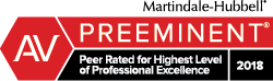 2018 Martindale-Hubbell® Peer Review Rating of AV Preeminent®