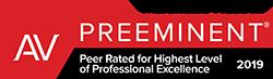 2019 Martindale-Hubbell® Peer Review Rating of AV Preeminent®