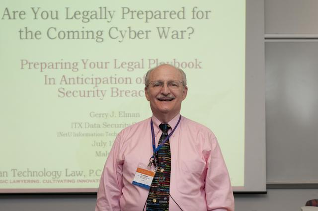 "Gerry Elman speaking on ""Are You Legally Prepared for the Coming Cyber War?"""